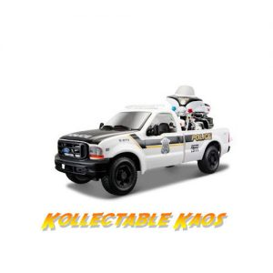 1:27 Maisto - 1999 Ford F-350 Super Duty Pickup Truck & 1:24 Police Harley