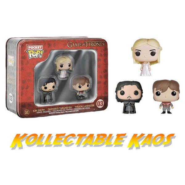 FUN4801pocket pop game of thrones 600x600 - Game Of Thrones - Jon, Tyrion and Daenerys Pocket Pops 3-Pack Tin