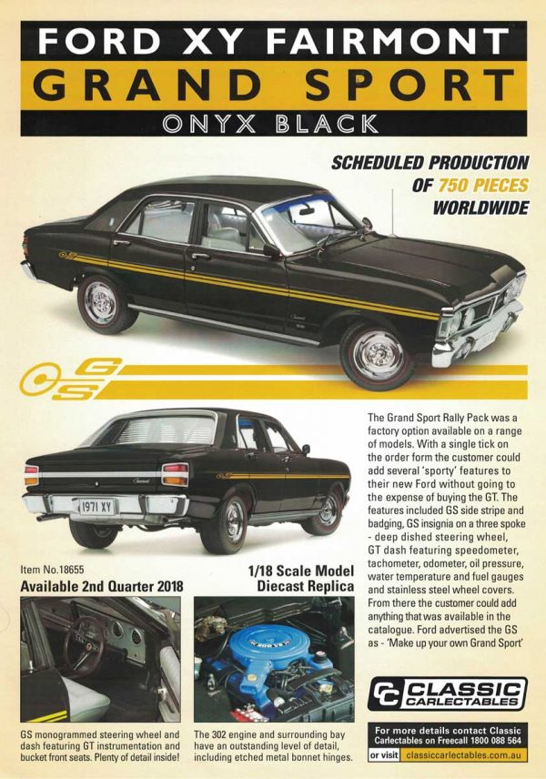 1:18 Ford XY Fairmont Grand Sport - Onyx Black(Pre order)