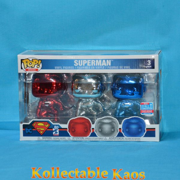FUN35301 Superman 3Pack Pop 1 600x600 - Superman - Superman Chrome Pop! Vinyl Figure 3-Pack (2018 NYCC) (RS)