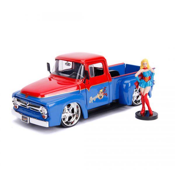 JAD30454 supergirl ride 1 600x600 - 1:24 Jada Hollywood Rides - 1956 Ford F100 - DC Bombshells Supergirl