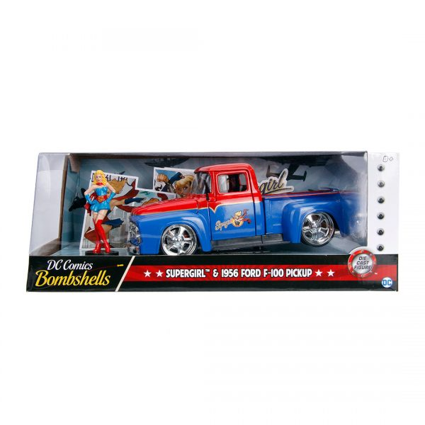 JAD30454 supergirl ride 3 600x600 - 1:24 Jada Hollywood Rides - 1956 Ford F100 - DC Bombshells Supergirl