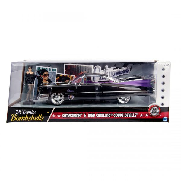 JAD30458 Catwoman Cadillac Ride 3 600x600 - 1:24 Jada Hollywood Rides - 1959 Cadillac - DC Bombshells Catwoman