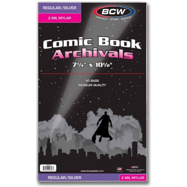 bcw silver comic bags mylar 600x600 - BCW - Comic Book Mylar Bags Regular & Silver Age Comics - 50 Bags Per Pack