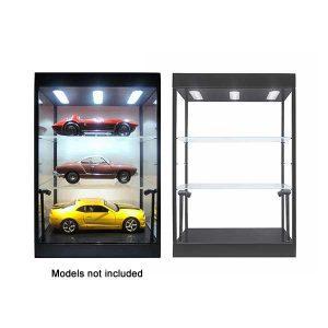 Display Case Black LED with 2 Adjustable Shelves