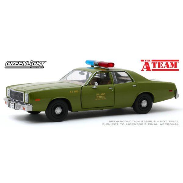 1:24 Greenlight - A-Team - 1977 Plymouth Fury US Army Police