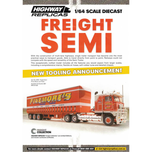 1:64 Highway Replicas - Finemore's Freight Semi