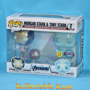Avengers 4 - Hologram Tony Stark & Morgan with Helmet Glow in the Dark Pop! Vinyl Figure 2-Pack