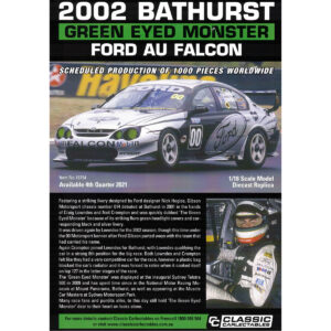 1:18 2002 Bathurst - Ford AU Falcon - Green Eyed Monster - Compton/Lowndes