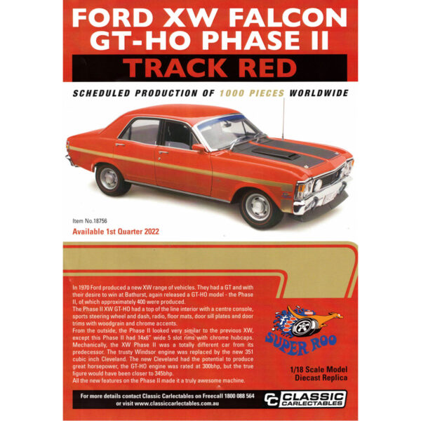 1:18 Ford XW Falcon GT-HO Phase III - Track Red