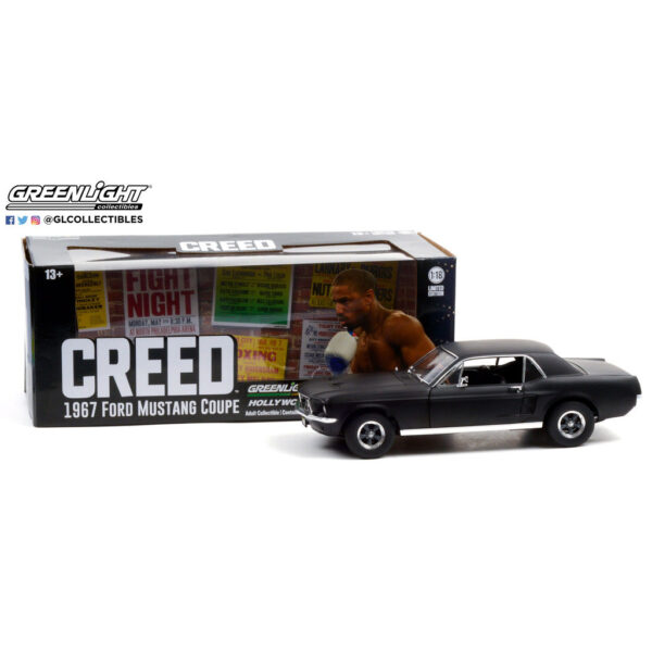 1:18 Greenlight - 1967 Ford Mustang Coupe – Matte Black - Creed Movie Car