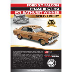 1:18 1971 Bathurst Winner Gold Livery - Ford XY Falcon Phase III GT-HO - Moffat