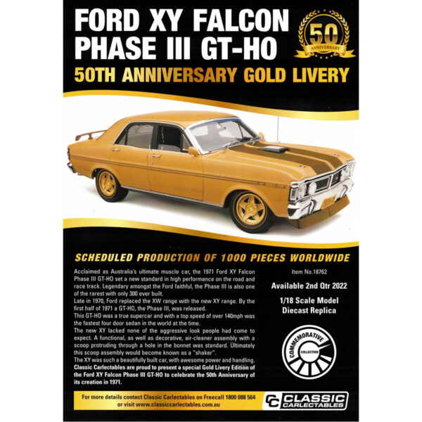 1:18 Ford XY Falcon Phase III GT-HO - 50th Anniversary Gold Livery